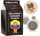 Dosettes ESE D�cafein� Colombie Excelso x 50 - Br�lerie d'Alr�