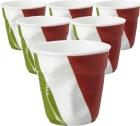 6 Tasses froissées Revol drapeau italien - 8 cl