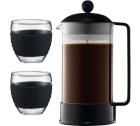 Cafetière à Piston Bodum Brazil 1 L + 2 verres Pavina 35cl noir