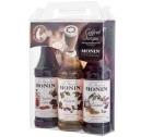 Coffret sirops Monin 3x25cl + 2 pochoirs Latte Art
