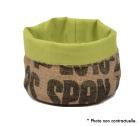 Corbeille en Toile de Jute et doublure coton vert - S - Lilokawa