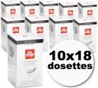 Dosette café illy espresso \'sur emballées\' torréfaction foncée 10x18