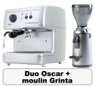 Lot Oscar argent + Moulin à café Grinta chrome - Nuova Simonelli