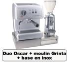 Lot Oscar argent + Moulin � caf� Grinta chrome + base en inox - Nuova Simonelli