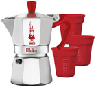 Cafetière italienne Moka Express Bialetti rouge 3 tasses + 3 tasses