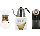 Kit Chemex n°3 : Chemex 6 tasses + moulin + bouilloire + 100 filtres