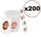 Super Kit Caf� Mokador Castellari : 200 gobelets + touillettes + sucres