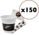 Super Pack Vergnano : 150 gobelets + touillettes +  sucres