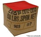 Pouf cube en toile de jute et coton rouge - Lilokawa