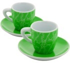 2 tasses et sous tasses La tazzine vert 9cl - Bialetti