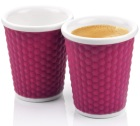 2 tasses en porcelaine avec bandeau silicone aubergine nids d'abeille 18cl - Les Artistes Paris
