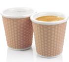 2 tasses en porcelaine avec bandeau silicone muscade nids d'abeille 10cl - Les Artistes Paris
