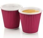 2 tasses en porcelaine avec bandeau en silicone aubergine ondulé 10cl - Les Artistes Paris