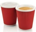 2 tasses en porcelaine avec bandeau en silicone rouge ondul� 18cl - Les Artistes Paris