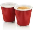 2 tasses en porcelaine avec bandeau en silicone rouge ondul� 10cl - Les Artistes Paris