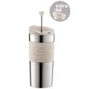 Travel Press 2 couvercles (piston et clapet) Bodum blanc crème et inox double paroi - 35 cl