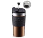 Travel Press 2 couvercles (piston et clapet) Bodum noir en plastique double paroi - 35 cl