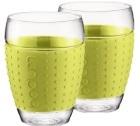 2 Verres BODUM PAVINA bande silicone verte citron 45cl