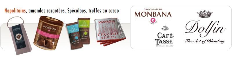 Napolitains et toutes les marques 'Chocolat' pour accompagner votre café : Monbana, La maison de la châtine, Dolfin, Café Tasse