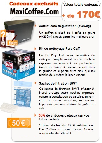 Cadeaux exclusifs MaxiCoffee machine expresso