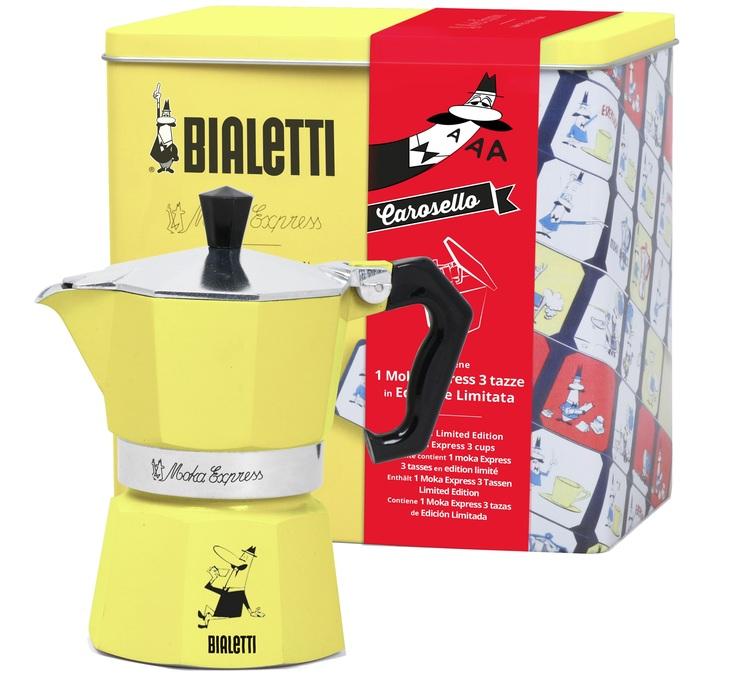 Cafetière Bialetti Moka Express jaune + boite à gâteaux