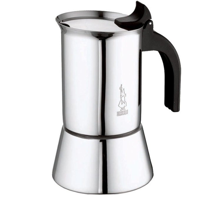 Italian Coffee Maker Venus 4 Cup For Induction Hob Stainless Steel Silver