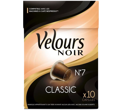 10 capsules pour nespresso classic velours noir. Black Bedroom Furniture Sets. Home Design Ideas