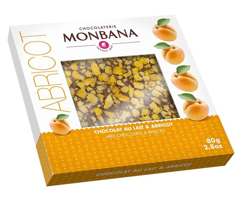 tablette abricot chocolat au lait 80 gr monbana. Black Bedroom Furniture Sets. Home Design Ideas