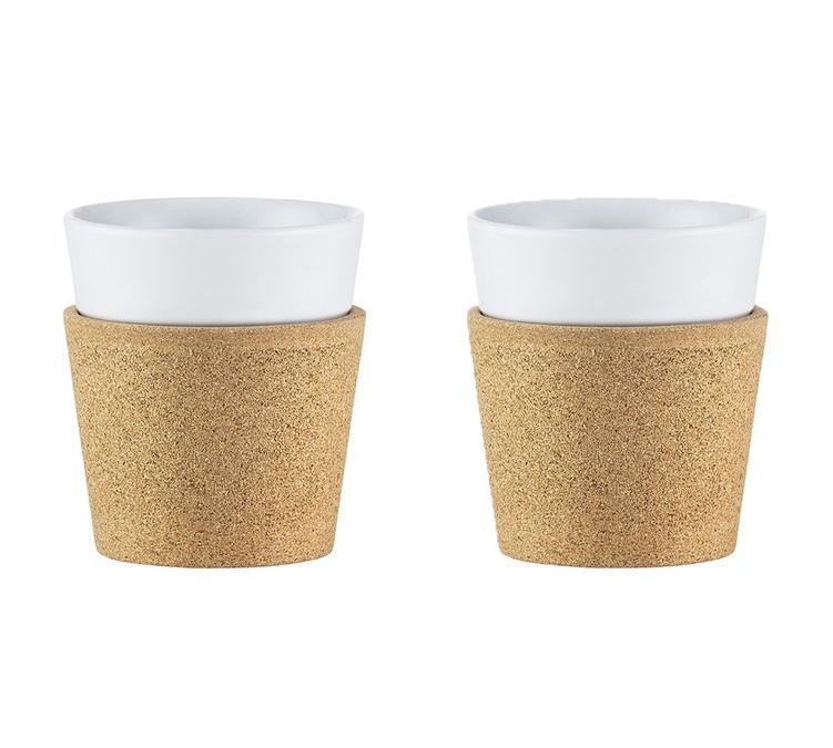 9f996cda184 2 Bistro porcelain and cork cups 170ml - Bodum