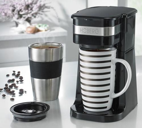 cafeti re filtre hoberg caf boxx noire mug isotherme. Black Bedroom Furniture Sets. Home Design Ideas