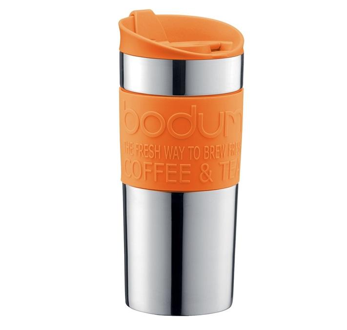 travel mug 35 cl orange inox double paroi bodum. Black Bedroom Furniture Sets. Home Design Ideas