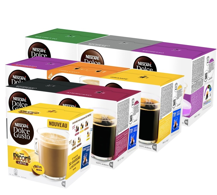 offre d couverte 144 capsules nescafe dolce gusto. Black Bedroom Furniture Sets. Home Design Ideas