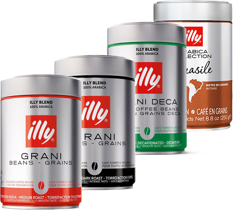 Illy Coffee Beans Pack 100 Arabica 4 Coffees X 250g