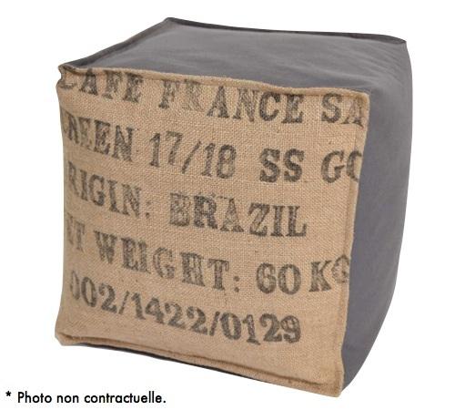 pouf cube en toile de jute et coton gris lilokawa. Black Bedroom Furniture Sets. Home Design Ideas