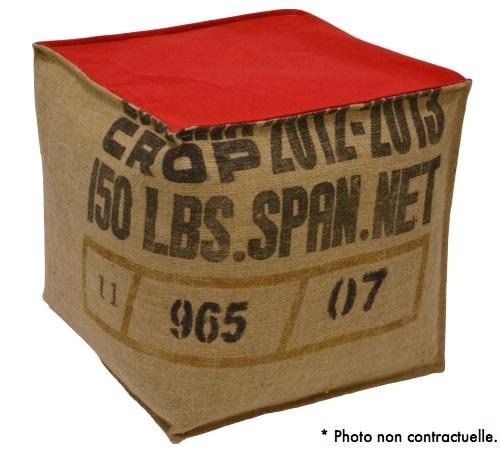 pouf cube en toile de jute et coton rouge lilokawa. Black Bedroom Furniture Sets. Home Design Ideas