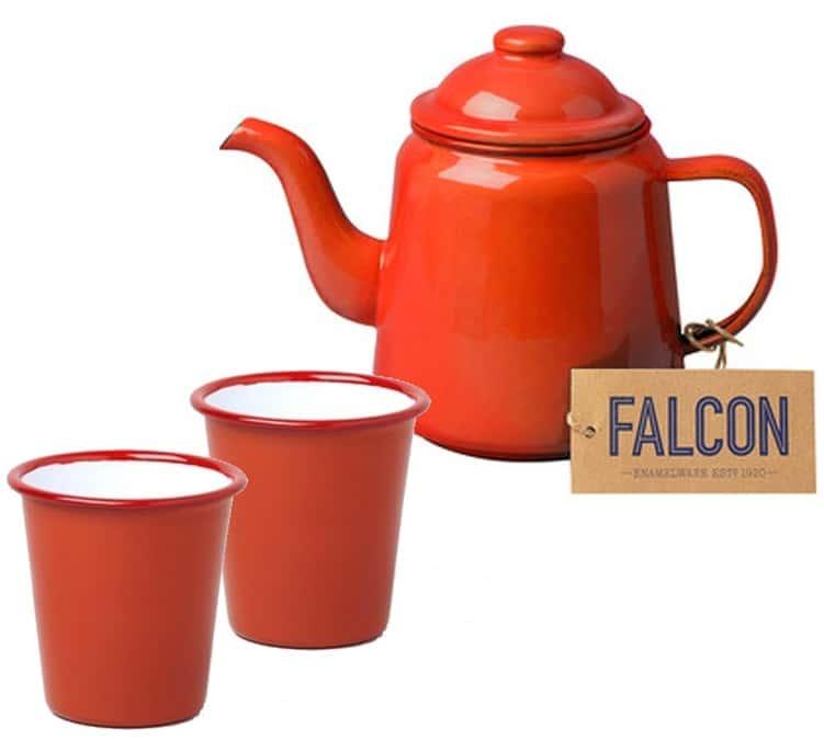 Falcon Enamelware - Service à thé théière + tasses rouge