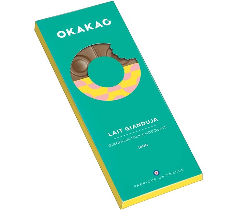 100g tablette chocolat au lait gianduja okakao