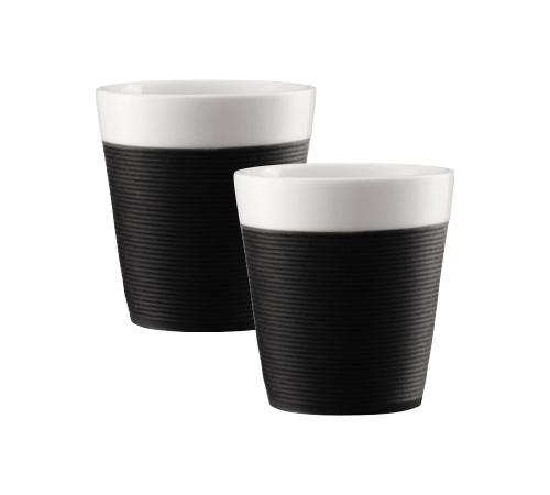 2 tasses bistro en porcelaine avec bande silicone noire 17cl bodum. Black Bedroom Furniture Sets. Home Design Ideas