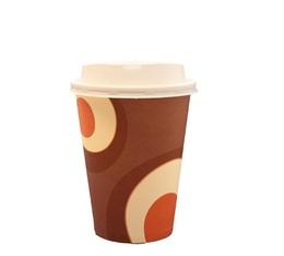 100 gobelets café carton couleur marron 35 cl  + couvercles