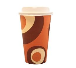 100 gobelets café carton couleur caramel 50 cl + couvercles
