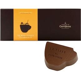 Boîte de 18 mini-tasses au chocolat au lait fourrées au caramel salé  - Café-Tasse
