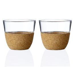 Lot de 2 tasses Cortica en liège et verre - Viva Scandinavia - 30 cl
