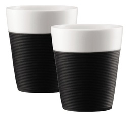 Bodum Set of 2 Bistro Porcelain Mugs With Silicone Sleeve Black - 30cl
