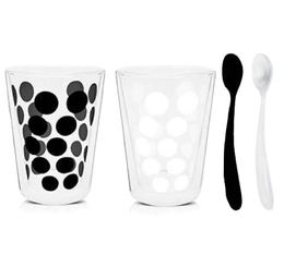 2x35cl 'Dot Dot' double wall glasses + 2 teaspoons - Zak