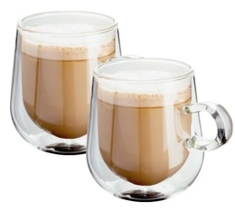 2x27.5cl double wall latte glasses with small handle - Judge
