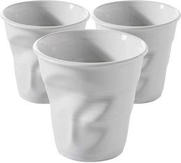 3 Tasses froissées Revol blanc - 8 cl