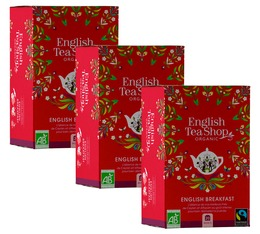 Pack Thé noir English Breakfast bio & Fairtrade - 3x20 sachets fraicheurs - English Tea Shop