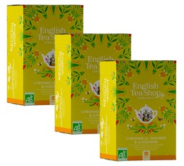 Pack Infusion Citronnelle Gingembre Agrumes bio - 3 x 20 sachets plats - English Tea Shop