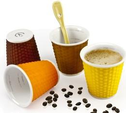 4 tasses en porcelaine avec bandeau silicone (tons chocolat) nids d'abeille 10cl - Les Artistes Paris