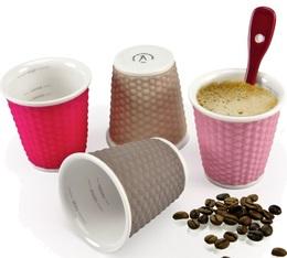 4 tasses en porcelaine avec bandeau silicone (tons rose) nids d'abeille 10cl - Les Artistes Paris
